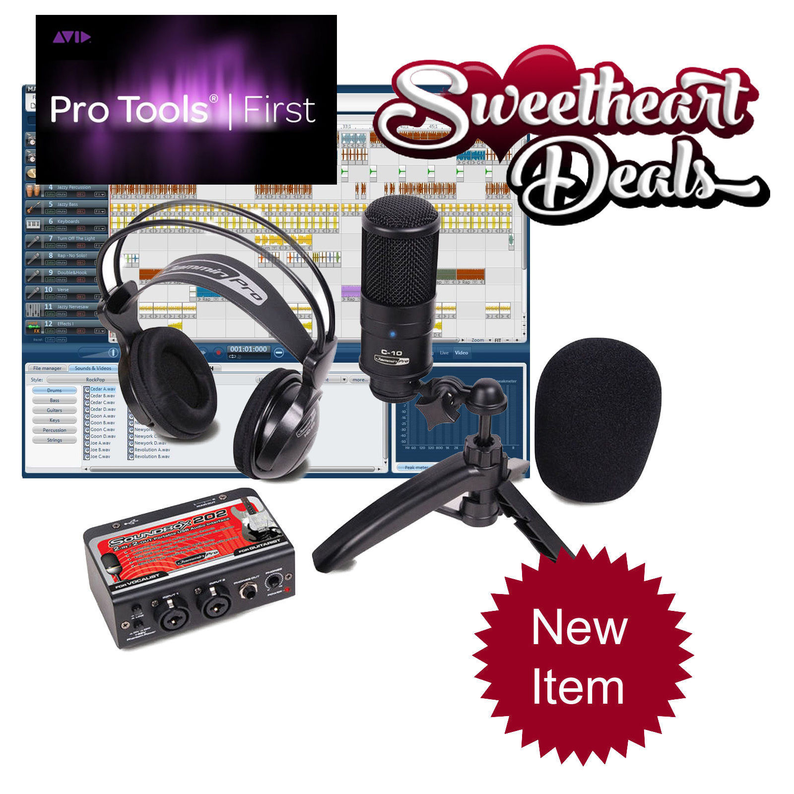 new pro pack recording bundle package studio mic dual interface pro tools first microphones. Black Bedroom Furniture Sets. Home Design Ideas