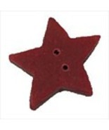 "Medium Folk Art Red Flat Star 3507m handmade clay button .44"" JABC Just ... - $1.40"