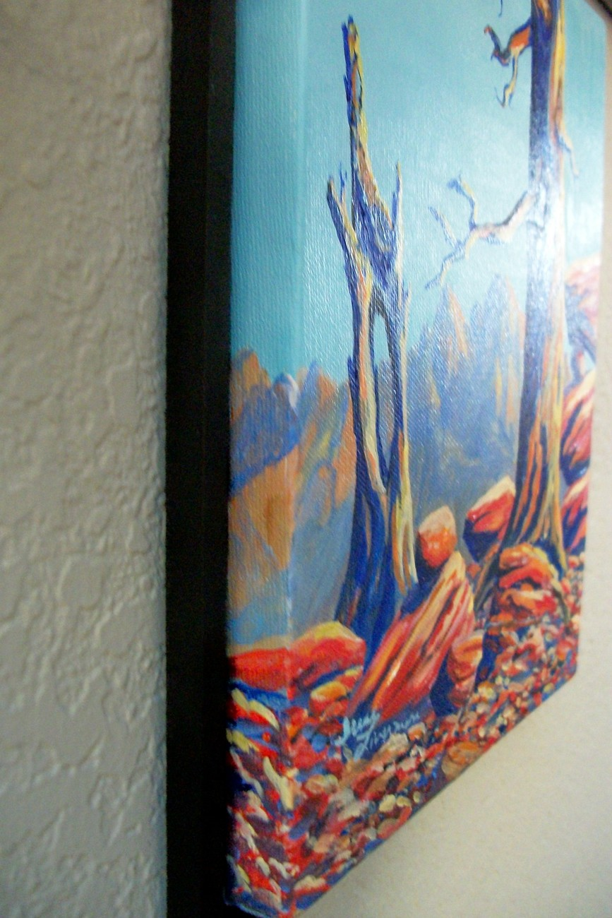 Blue Tree Landscape Sierras Miniature Surreal Original Painting Stretched Canvas