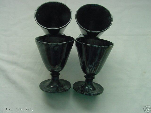 Black Marble Mini Martini Glasses set of 4 New