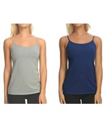 Maidenform 2-Pack Cotton Stretch Cami, Heather Grey and Navy - $14.99