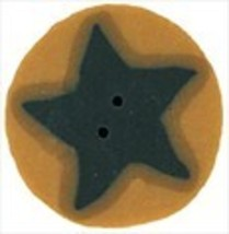 "Small Blue Star On Gold 3513s handmade button .5"" JABC Just Another Button - $1.40"