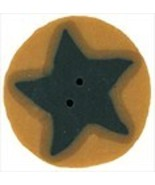 "Medium Blue Star On Gold 3513m handmade button .75"" JABC Just Another Bu... - $1.80"