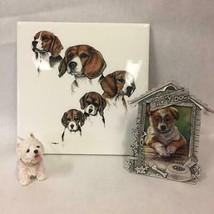 3 Dog Collectibles Ceramic Beagle Trivet Westie Figurine Pewter Picture ... - $19.79
