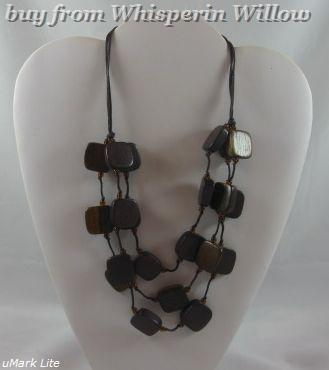 Primary image for 3 Strand Wood Bead Fashion Necklace