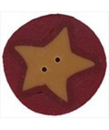 "Medium Gold Star On Red 3514m handmade button .75"" JABC Just Another Button - $1.80"
