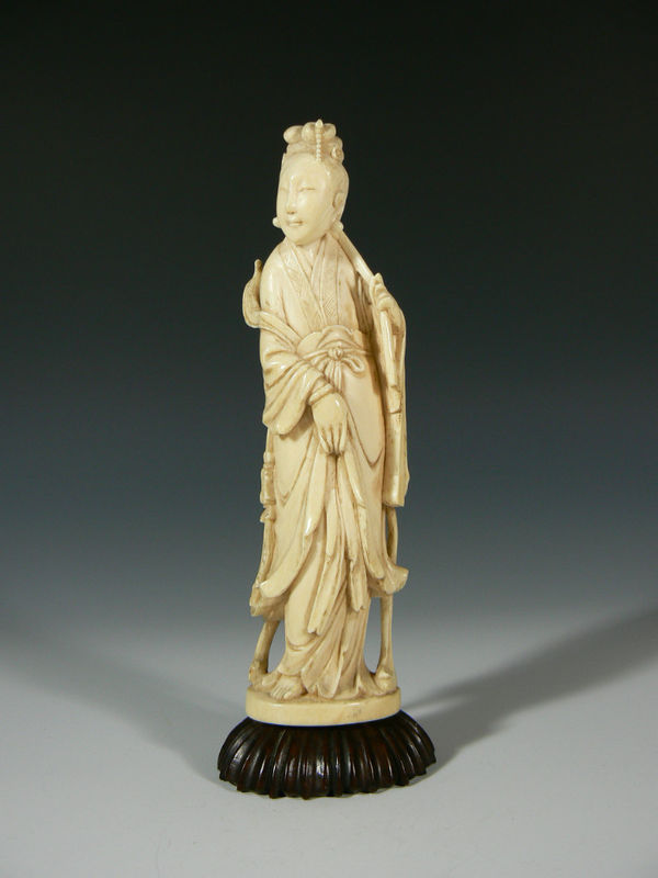 Primary image for Antique Chinese Ox bone Quan Yin Immortal Carving 19th Century