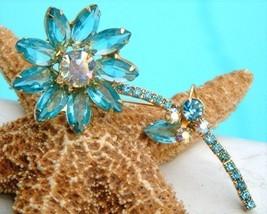 Vintage juliana rhinestone flower stem brooch pin aqua thumb200