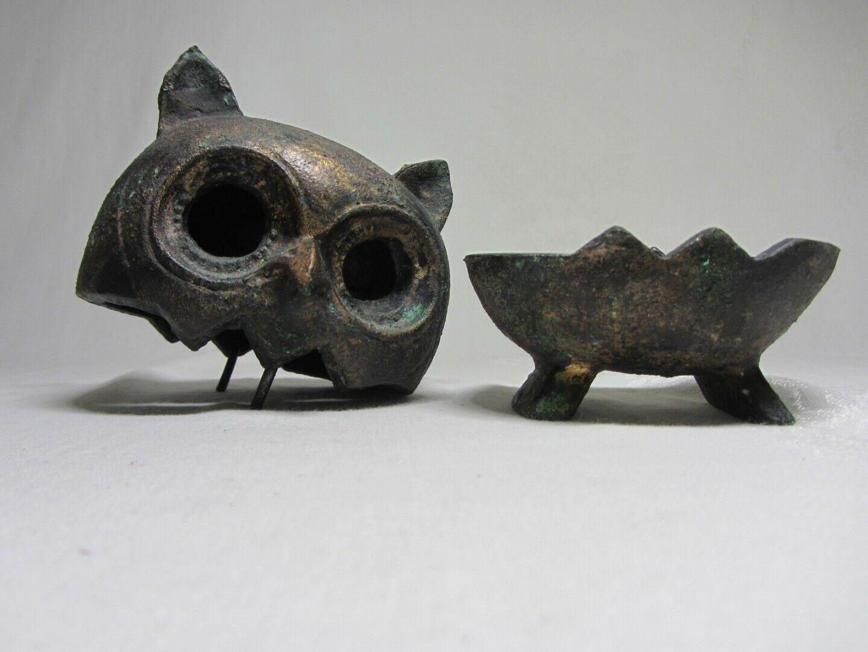 Cast Iron Metal Vintage Owl Bird Figurine 2 piece Brutalist MCM Patina Sculpture