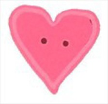"Large Happy Pink Heart 3519L handmade button 1"" JABC Just Another Button - $1.80"