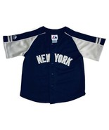 New York Yankees Kids Size 7 Majestic Baseball Jersey Blue Sewn Team MLB - $27.86