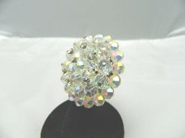 VTG RARE Clear AB Demi Parure Crystal Rhinestone Accented Glass Pin Brooch  image 3