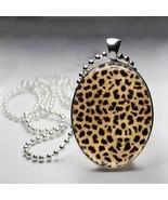 Cheetah Print Oval Bezel Pendant - $8.95