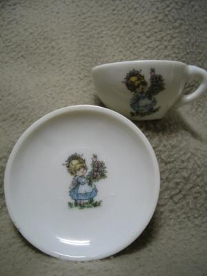Miniature Cup & Saucer Little Girl w/ Flower Bouquet