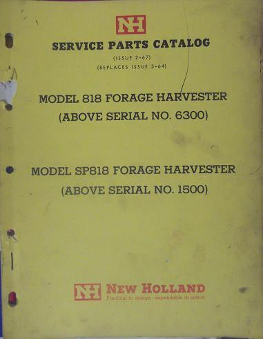 Primary image for New Holland 818, SP818 Forage Harvesters Parts Manual