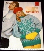 Bouquet Book 1210 CHUNKY SPIRIT 8 Knitting Patterns ADULT - $6.54