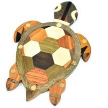 Northwoods Wooden Marquetry Sea Turtle Design Tile Figurine Sculpture Decor image 2