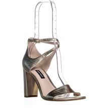 Nine West Nunzaya Heeled Ankle Strap Sandals, Light Gold Multi - $28.99