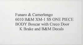 Funaro & Camerlengo HO B&M  XM-1 SS Boxcar Reverse Creco Door One Piece Body 601 image 3