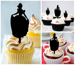 Ca437 Decorations cupcake toppers cinderella silhouette Package : 10 pcs - $10.00