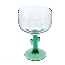 Margarita Glass with Green Cactus Stem 16oz for Succulent Lover