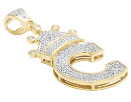 14k Gold Plated 925 Silver Round Cut CZ 'C' Letter Alphabet King Crown P... - £117.39 GBP