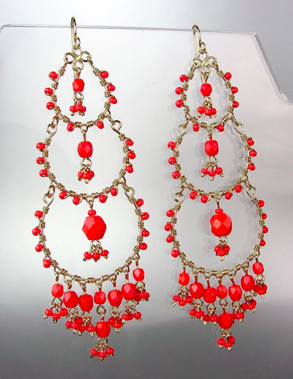 Primary image for EXQUISITE Artisanal Coral Red Crystals Beads Gold Chandelier Dangle Earrings