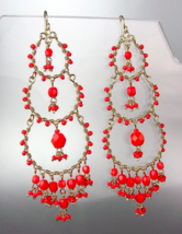 EXQUISITE Artisanal Coral Red Crystals Beads Gold Chandelier Dangle Earr... - $29.99