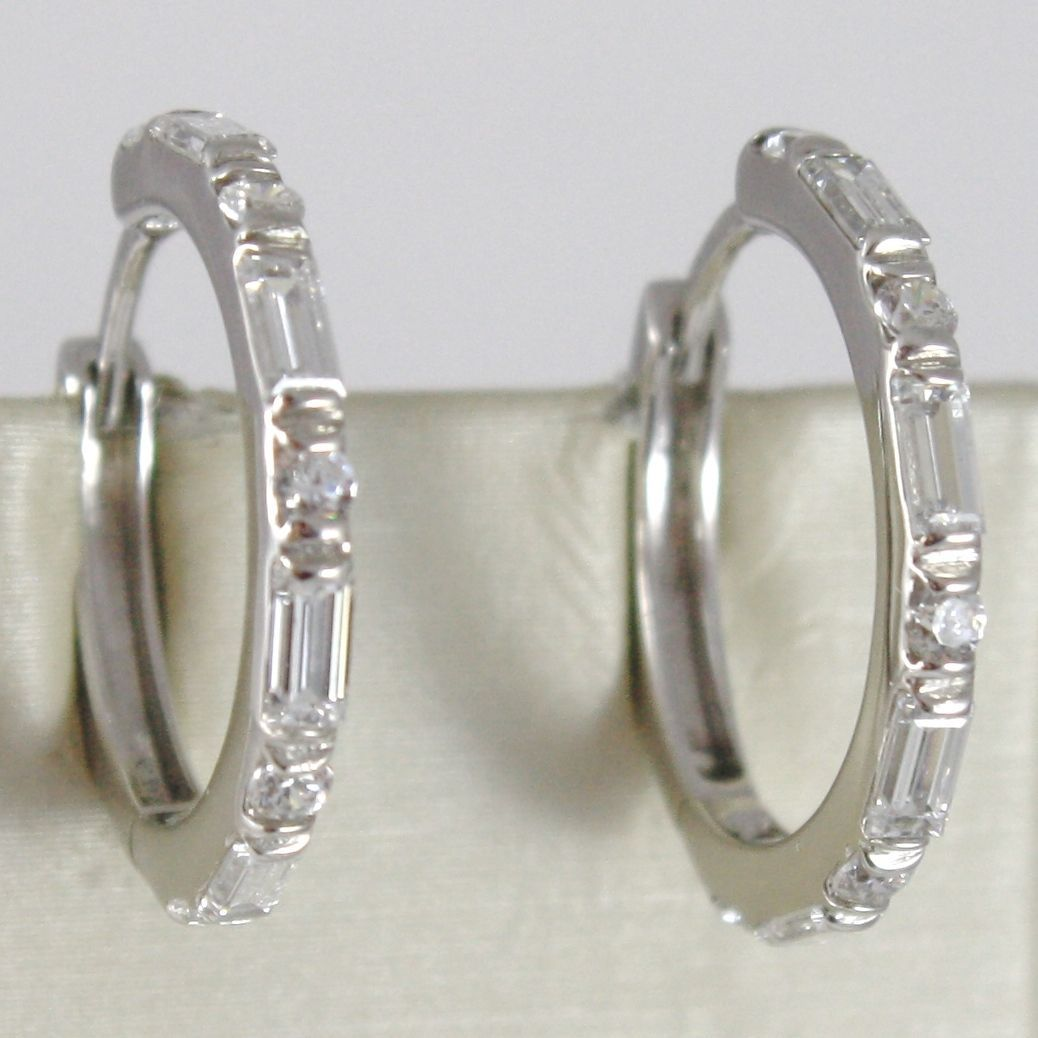 WHITE GOLD EARRINGS 750 18K CIRCLE, DIAMETER 2 CM, ZIRCON BAGUETTE AND ROUND