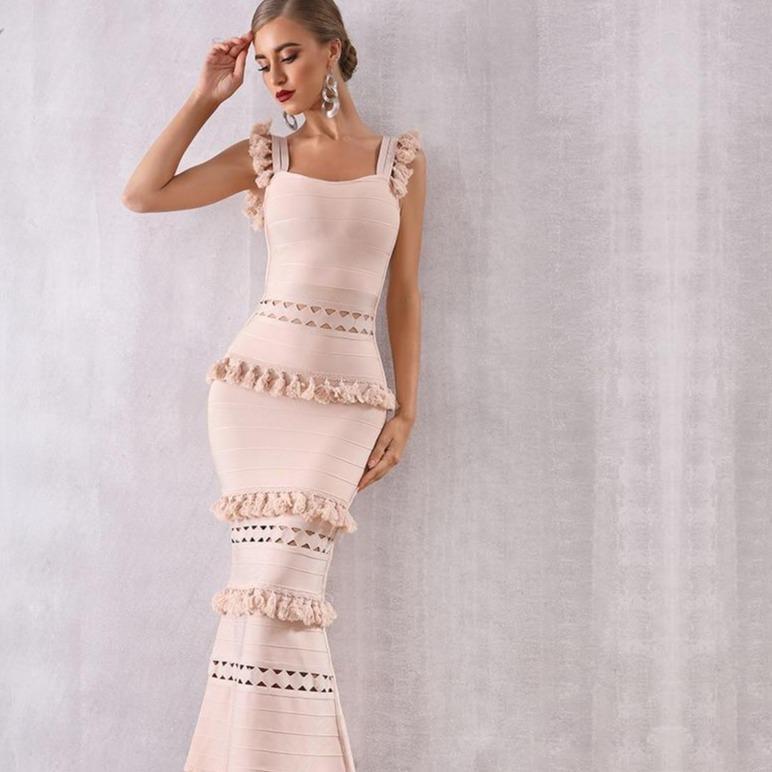 Yce 2021 new summer women maxi hollow out bandage dress sexy sleeveless tassel club dress fringe