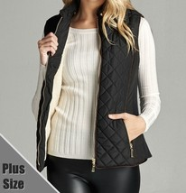 Plus Size Quilted Vest, Faux Shearling Lined Vest, Black Plus Size Lined Vest 3X
