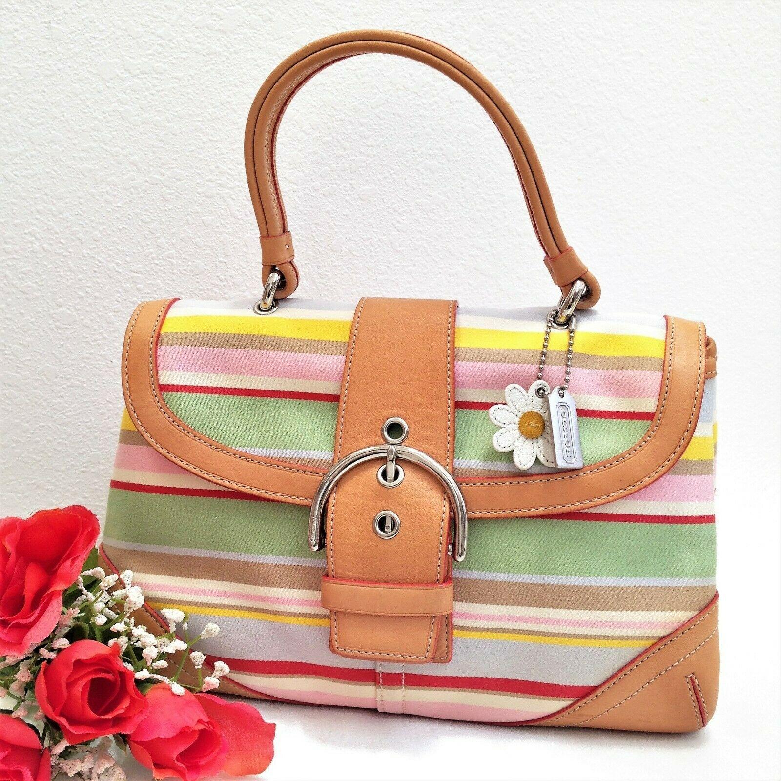 6a34af956823 COACH SOHO Twill Stripe Satchel - Multicolor Canvas & Vachetta - Style 4438  EUC - $49.49