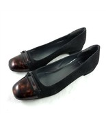 Stuart Weitzman Black Brown Cap Toe Ballet Flats Slip On Shoes Womens 7.5 M - $49.41