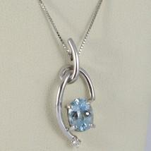 Halskette Weißgold 750 - 18K, Anhänger Aquamarin Oval Karat 0.85 Und Diamant image 1