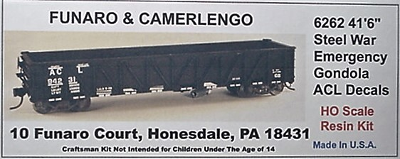 "Funaro & Camerlengo HO ACL 41'6"" Steel War Emergency Gondola Kit 6262"
