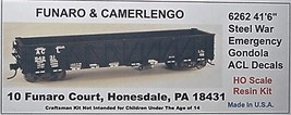 "Funaro & Camerlengo HO ACL 41'6"" Steel War Emergency Gondola Kit 6262 image 1"