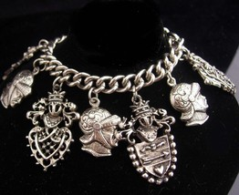 Medieval charm bracelet / silver fobs / knight charms / family crest shi... - $125.00