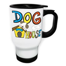 Dog House Cute Kids Design White/Steel Travel 14oz Mug aa913t - $17.93
