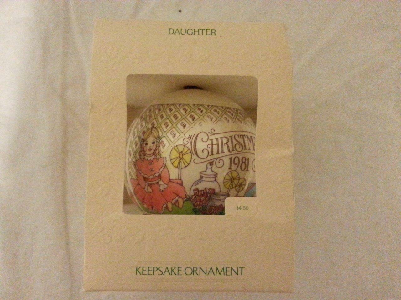HALLMARK SATIN ORNAMENT VINTAGE DATED 1981 DAUGHTER IN ORIGINAL BOX