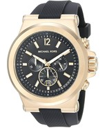 Michael Kors Mens Watch MK8445 Dylan Quartz Stainless Steel Black Silico... - $167.00
