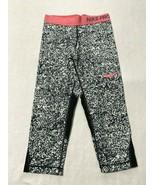Nike Pro Girls M Capri Leggings Black White Spatter Pink Trim Dri Fit Tr... - $12.99