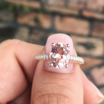2.50Ct Oval Cut Morganite Solitaire Solitaire Ring Solid 14K Rose Gold F... - $107.99