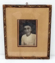 Vintage India Old Man Black and White Photo With Painted Wooden Frame - $74.80