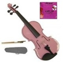 Crystalcello 1/32 Size Pink Violin with Case, Bow, Rosin+Extra E String, Rosin - $39.99
