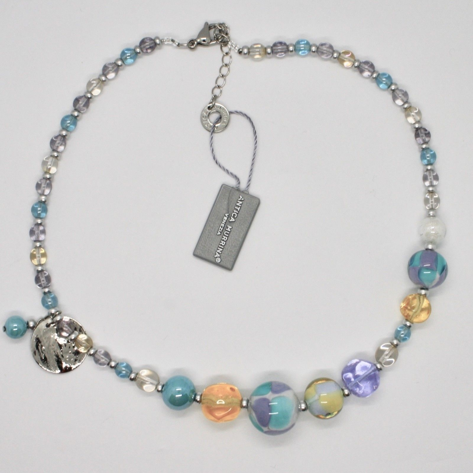 ANTICA MURRINA VENEZIA NECKLACE WITH MURANO GLASS SILVER BLUE YELLOW COA84A07