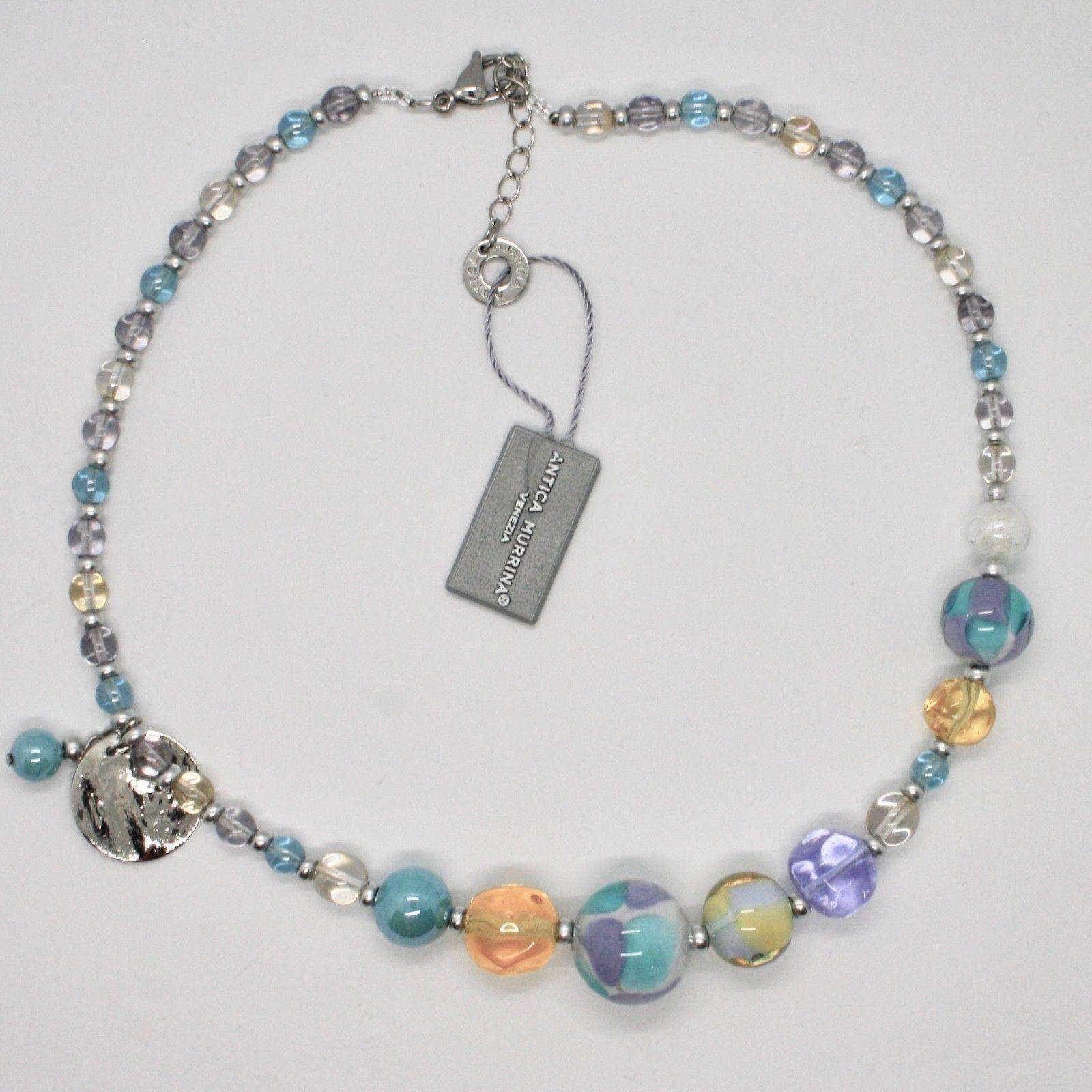 ANTICA MURRINA VENEZIA NECKLACE WITH MURANO GLASS SILVER BLUE YELLOW COA84A07