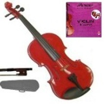 1/2 Size Red Violin with Case, Bow, Rosin+Extra E String, Rosin - $37.00