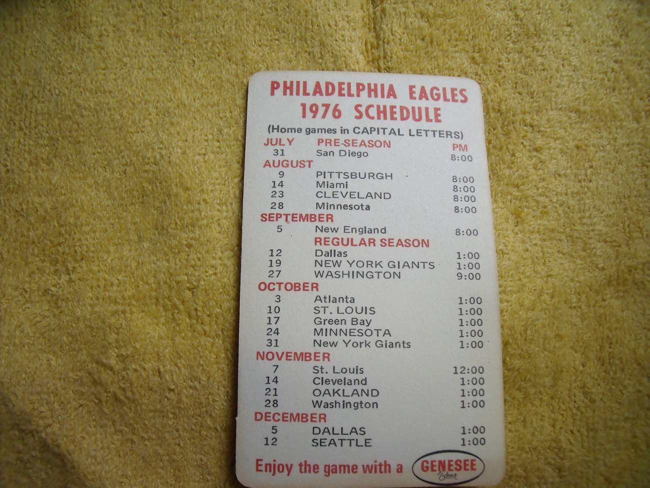 Original 1976 Philadelphia Eagles Schedule by Genesee