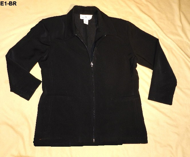 Erin London Size Adult Small Black Polyester Zippered Jacket