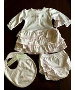 Kissy Kissy Baby Girl Dress & Diaper Cover, Booties, Bib, 0-3 Months, NWT - $37.99